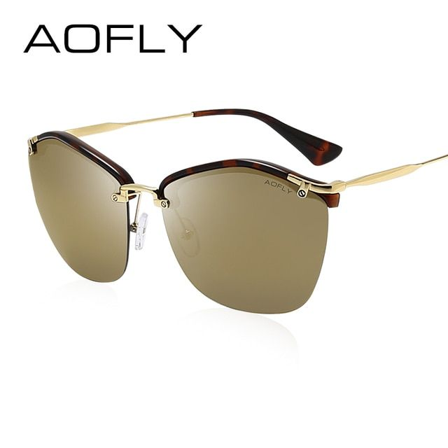 AOFLY Fashion Sunglasses Female Brand Sun glasses Women Designer Cat Eye Glasses Shades Oversized Glasses Crafts Temple UV400
