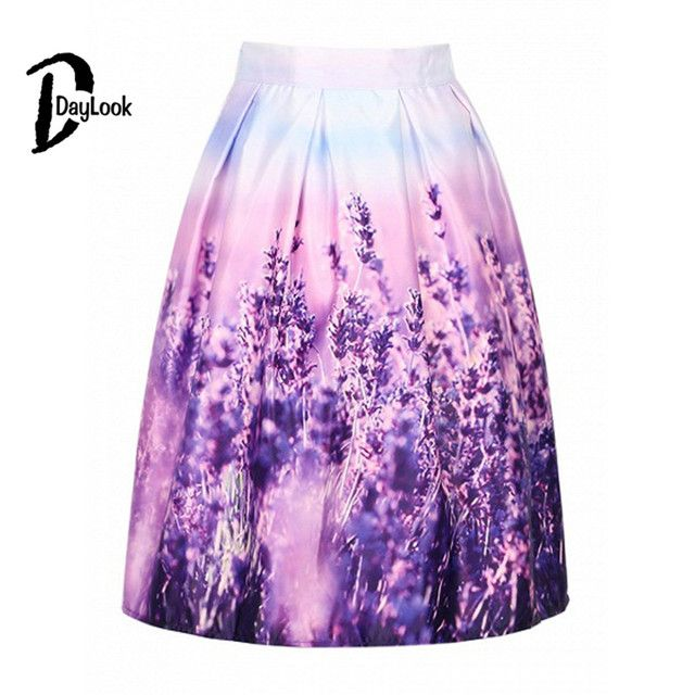 Daylook  Summer Hot Sale Flower Printed High Waist Pleated Skater A-line Skirt Women Casual Summer Style Fashion Wear