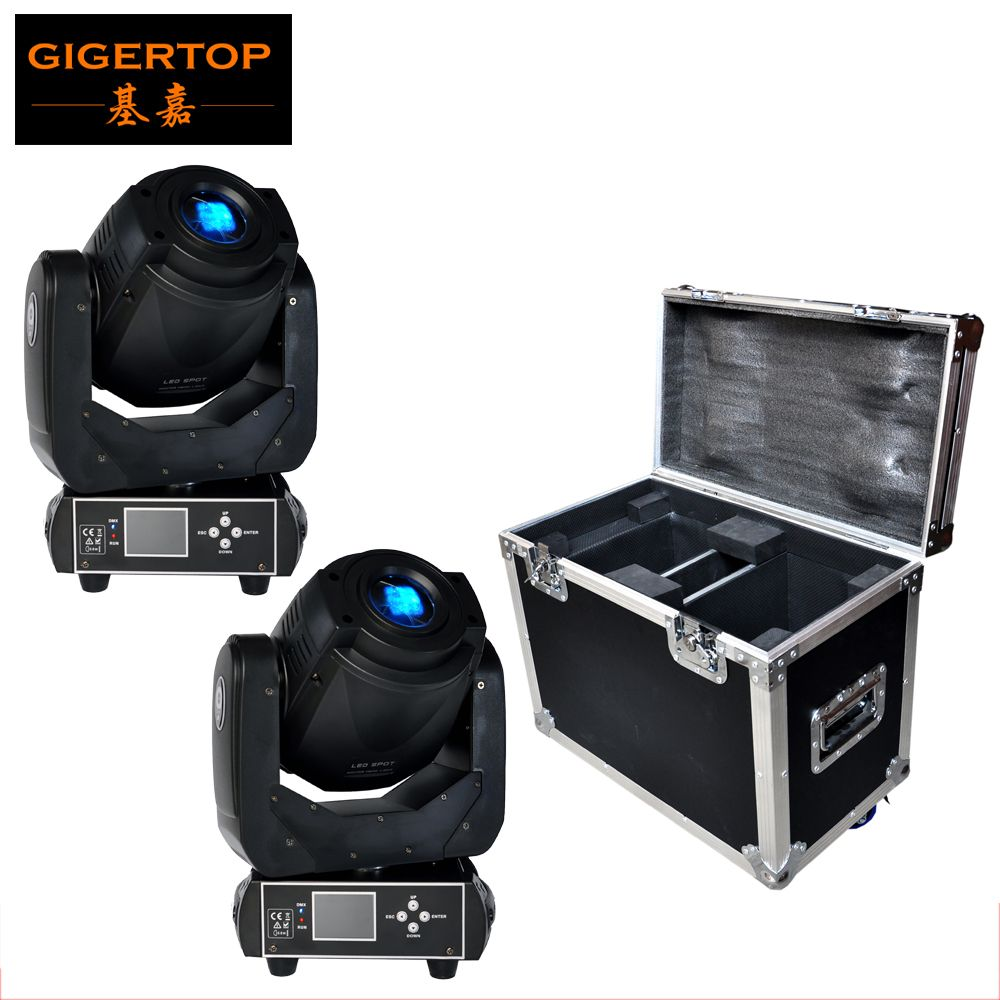 Free Shipping Flightcase for 2 Untis 90W Led Moving Head Spot Light  LCD Display High Quality High Brightness 90W Moving Light
