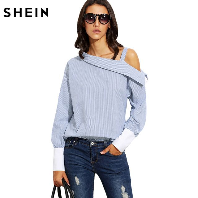 SHEIN Womens Tops Fashion Autumn Ladies Blue Striped Fold Over Asymmetric Shoulder Long Sleeve Contrast Cuff Blouse