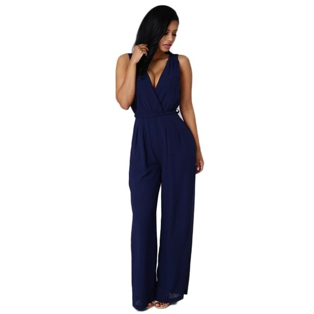 New 2016 Jumpsuit Womens Overall Sexy Fashion Waist Jumpsuit Pants Overalls Women Work Casual Wear