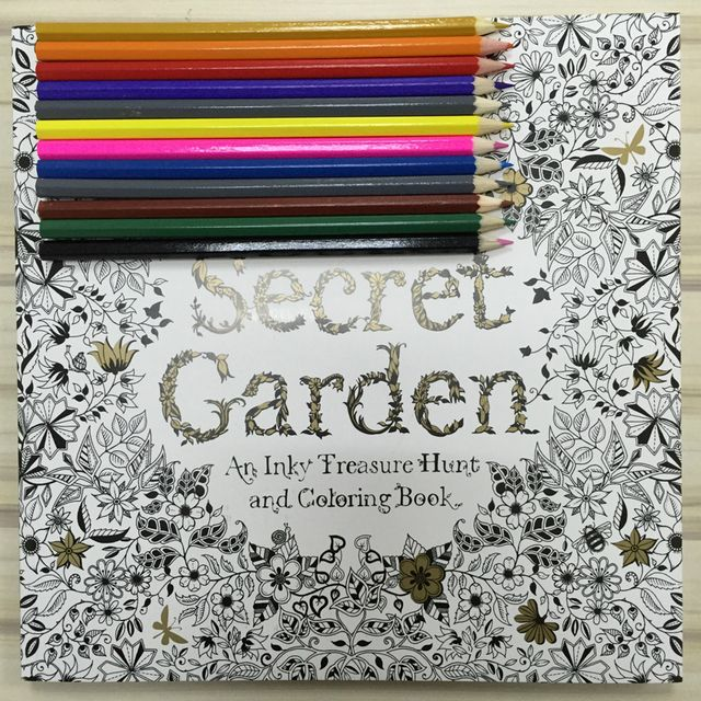 12 Color Pencils+96 pages English Secret Garden Coloring Books For Adult Hand-drawn Relieve Stress Graffiti Painting Libros