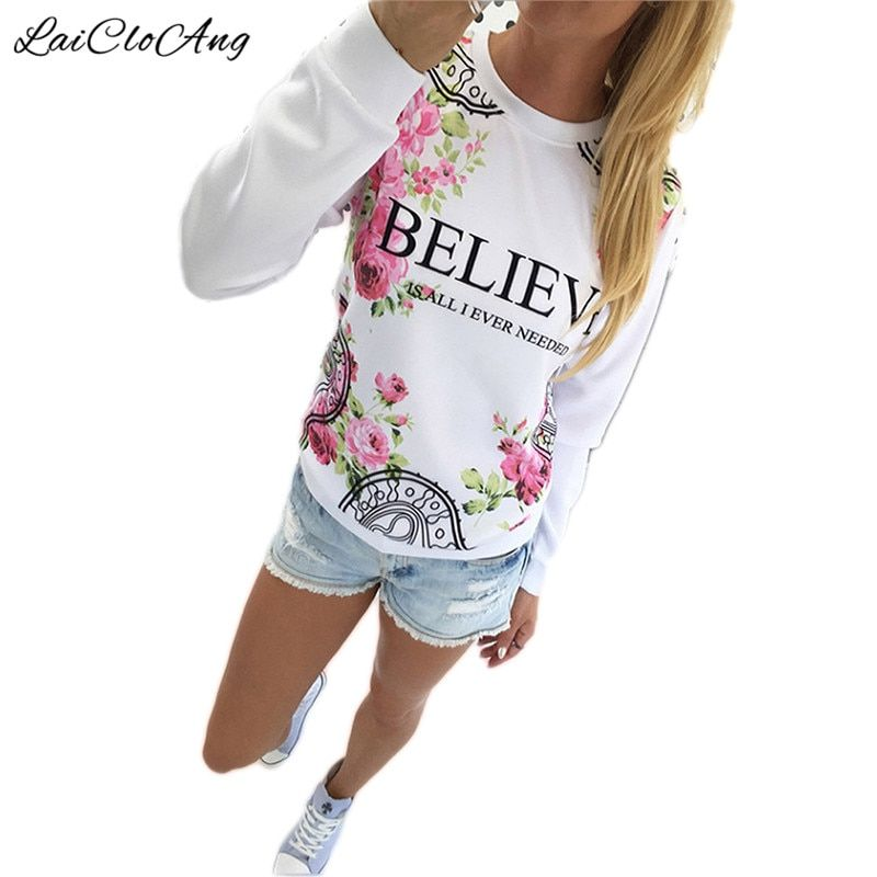 BELIEVE Letter Floral Print Hoodies Women Autumn New Pullovers Long Sleeve O-Neck Sudaderas Mujer 2016 Casual Sweatshirt Women