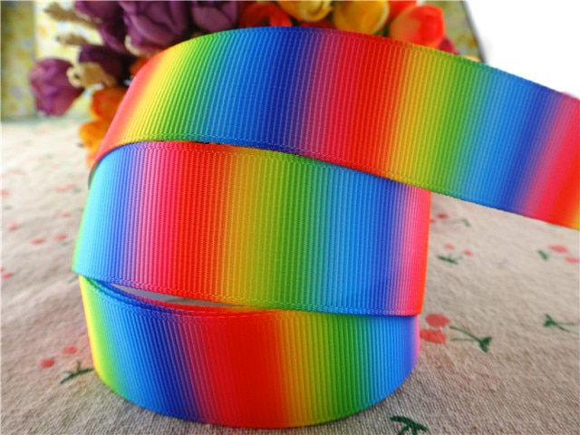 "17010123,New arrival 1"" (25mm) 10 yards/lot rainbow printed grosgrain ribbons cartoon ribbon DIY hair bows"