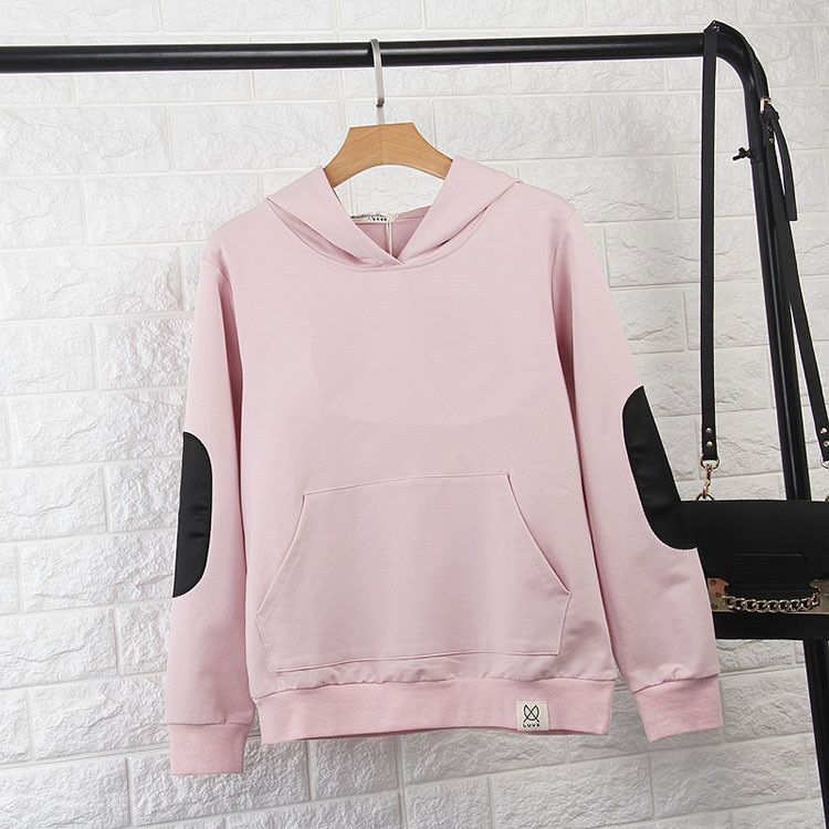 2016 Women Hoodies Sweatshirt Long Sleeve Pink Casual Harajuku Pocket Design Winter Hoodie For Women Pullovers Sudaderas Mujer