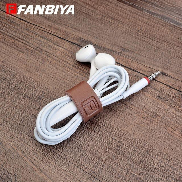 FANBIYA 50pcs Earphone Genuine Leather Buckle Winder Cord Headphone USB Charger Cable Coil Organizer Holder Wrapped Holders Grip