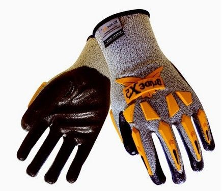 TPR Mechanic cut resistant gloves 13 G liner, Black nitrile textured Foam coated palm gloves TPR on back and fingers 12304