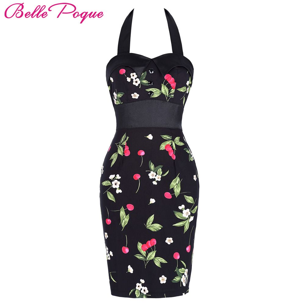 Womens Bodycon Sheath Summer Dress 2018 Halter Sexy Club Casual Party Vintage Floral Print Backless Pencil Wiggle Work Dresses