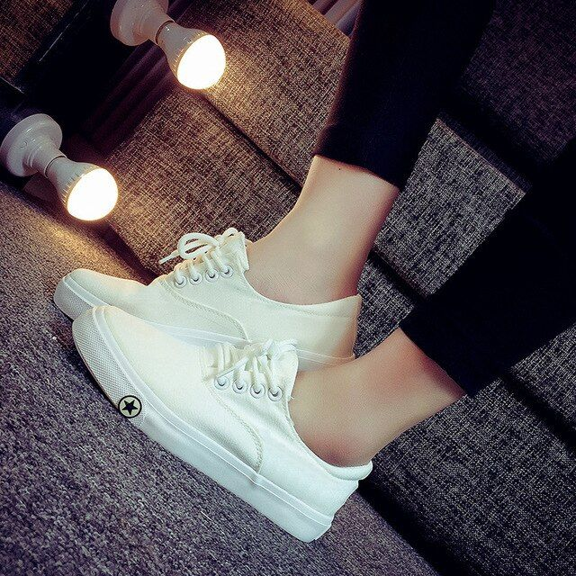 Spring Of 2016 Casual  White Shoes Flat Shoes Slip-on Female Canvas Shoes students shoes