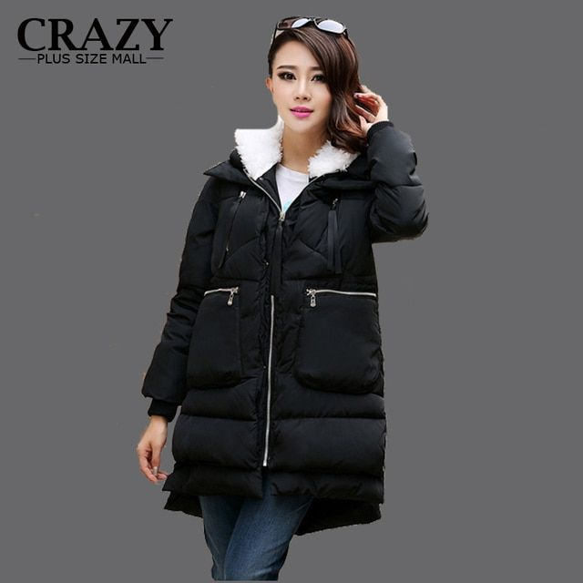 2017 Women Plus Size M L XL XXL 3XL 4XL 5XL Down coat cotton-padded jacket medium-long loose thickening wadded Outerwear Coats