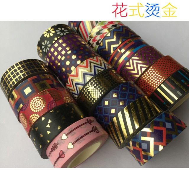 Golden foil washi paper  tape/Color Varied Design washi  tape/15mm*10m