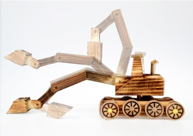 Children wooden excavator model vehicle Toys / 360 degree rotation big size excavator for boy's favorite classic toys