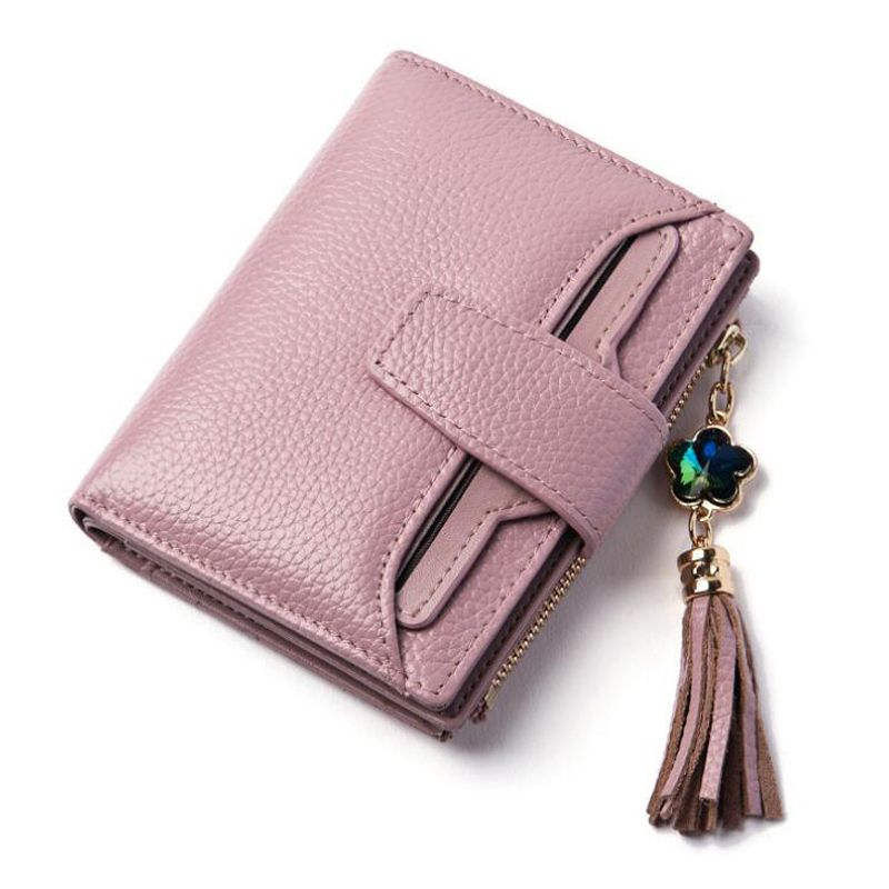 Fashion Genuine Leather Wallet Women Bag Luxury Brand Small Woman Wallets Female Solid Carteira ID Card Holder Girls Coin Purse