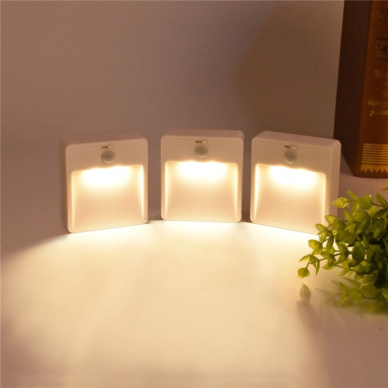 3PCS/PACK LED light Sensor human body infrared Sensor Light Battery powered Night Light Automatic Toilet Corridor Wall Lamps