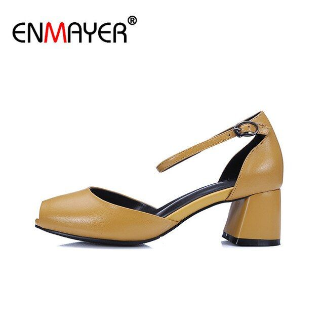 ENMAYER Mary Janes Chunky Heels Peep Toe Buckle Strap Chunky Heels High Heels Cute Shoes Women Summer Women Pumps for Party