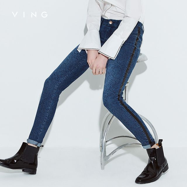 VING New Women Leather Patchwork Skinny Jeans Lady Slim Fashion Denim Full Lenght Pencil Pants Lady Mid Waist Jeans