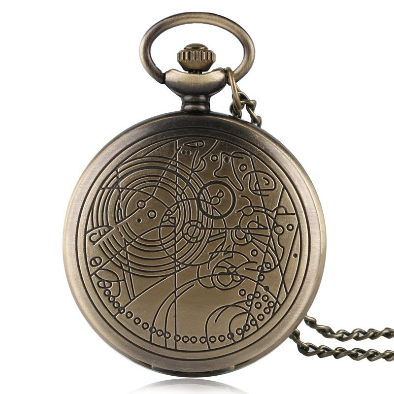 Bronze  Doctor Who Quartz Pocket Watch Men Women Pendant Necklace Chain Vintage Antique Style New Full Hunter Retro Gift