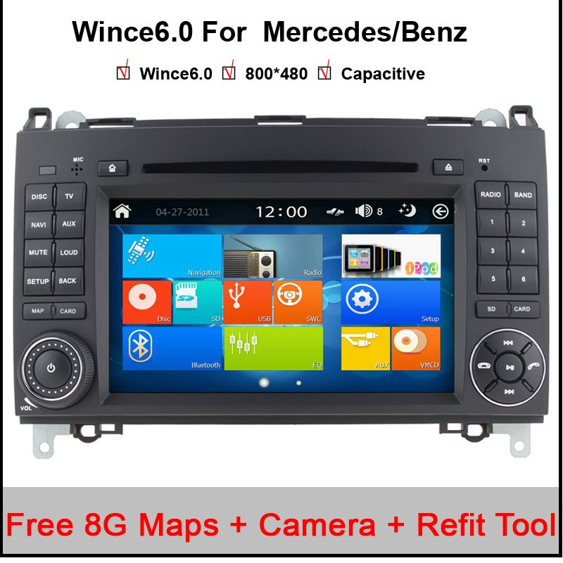 2 Din 7 Inch Car DVD Player For Mercedes/Benz/Sprinter/W209/W169/W245/Viano/Vito/B-Class/B150/B170/B200/A160/A180 FM GPS Radio