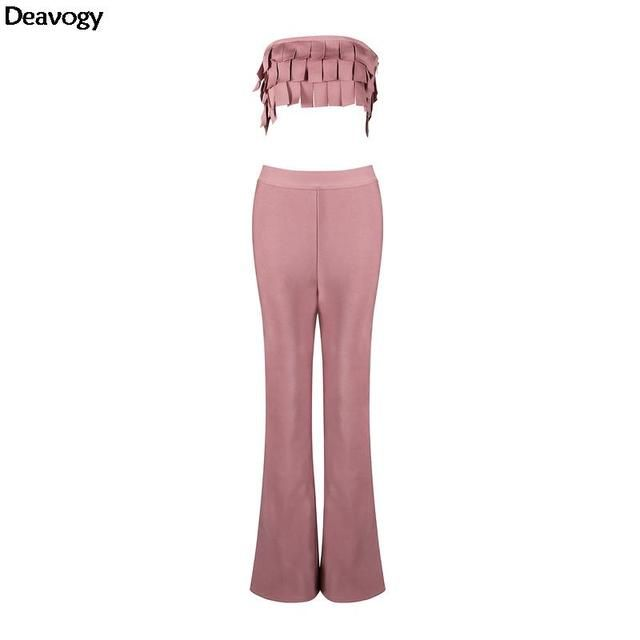 Deavogy 2016 New Summer Peach Strapless Sleeveless Tassel Elegant Chic Sexy Cocktail Party Women Two Piece Sets Hot Sale H2582