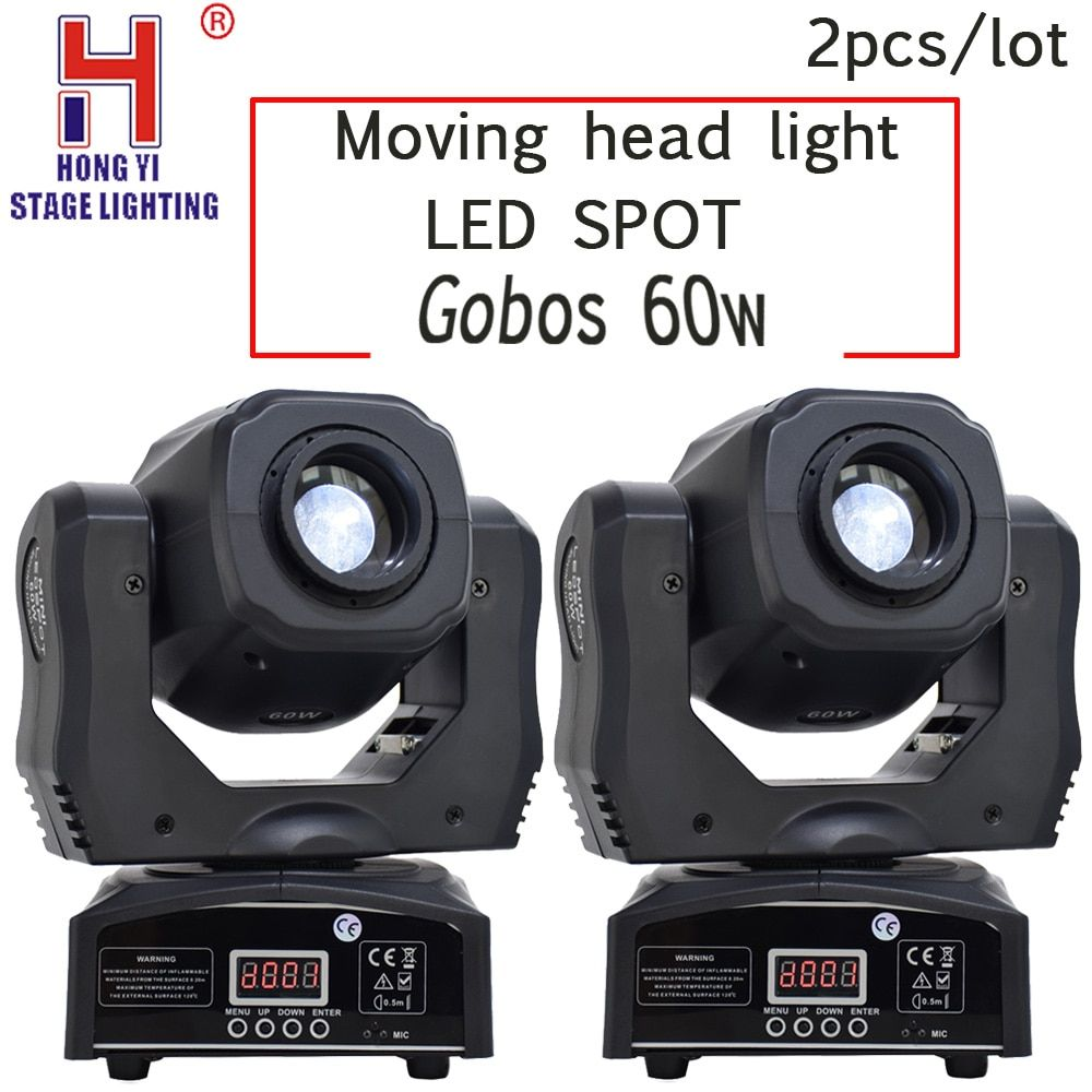 Led Spot moving head light gobos 60w DMX512 professional dj par party show stage lighting 2PCS/LOT