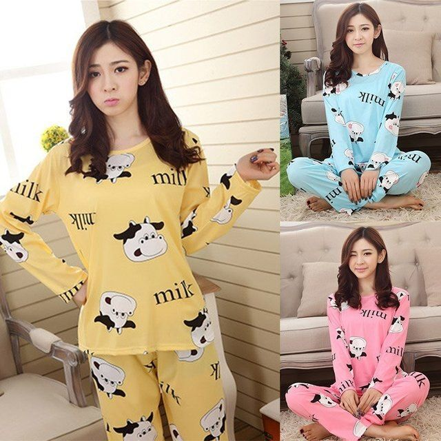2017 Cute Autumn Women Casual Sleepwear Cartoon Nightwear Homewear Pajamas Set Leisurewear female Sleepwear