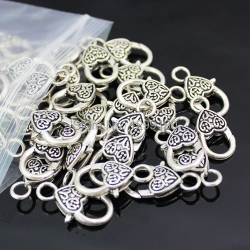 50pcs/lot  Antique Silver Antique Bronze Lobster Clasp Necklace Bracelet Hook Fings bails for Pendant,25x12mm (K00142)
