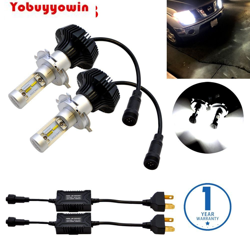 Free Shipping 7G H4 9003 HB2 FANLESS LED Headlight Conversion Kit 6500K 12000LM PhilipsLuxeon ZES Chips No Error For Car Bulbs