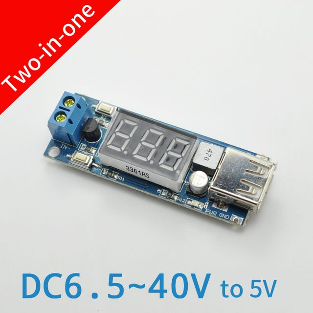 DC DC Step Down Converter LED Display Voltmeter + 5 V USB Charger Power Supply Module Board Step-down Buck Port 6.5-40V To 5V 2A