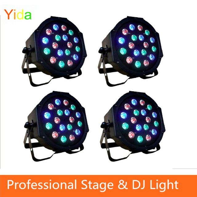 Professional LED Stage Light 18*3W RGB PAR LED DMX Stage Lighting Effect DMX512 Master-Slave Led Flat Par Light for DJ Party KTV