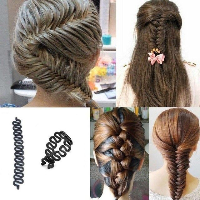 2 PCS Women Lady French Hair Braiding Tool Braider Roller Hook With Magic Hair Twist Styling Bun Maker Hair Band Accessories