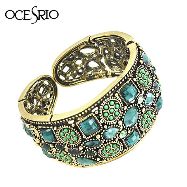 OCSRIO Vintage Gold Cuff Bracelets for Women Crystal Rhinestone Open Wide Cuff Bracelets Bangles Indian Jewelry brt-j46
