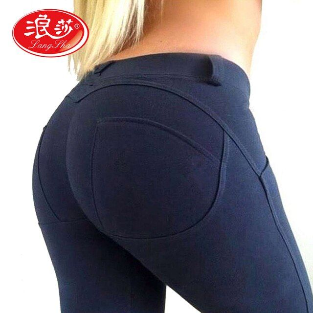 Langsha Brand Hip Push Up Leggings Low Waist Women Sexy Pants Bodybuilding Legging Gothic Leggins 2016 Autumn Winter Fashion