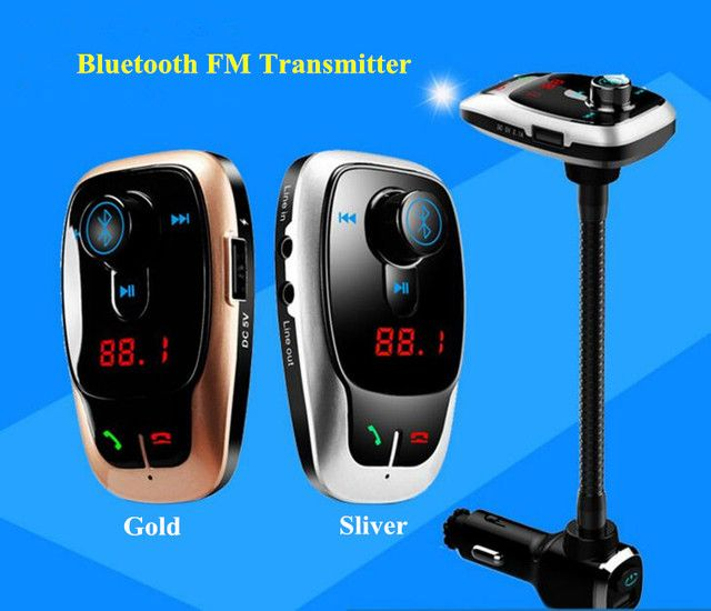 2017 New Bluetooth Car Kit MP3 Player Hands-free Call  Car FM transmitter 5V 2A Dual USB Car charger  For iPhone for Samsung