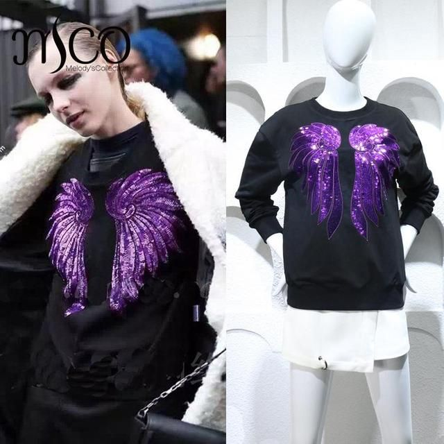 2016 Brand new autumn sweatshirt women loose Purple sequined embroiders Angel wings Harajuku black hoodies hip-hop wear female