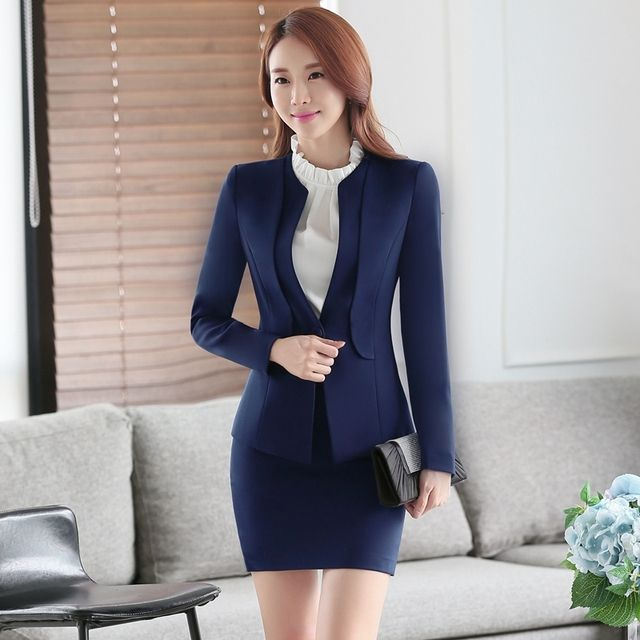 Good quality V-neck business office lady blue long sleeve jacket and skirt set slim formal suits