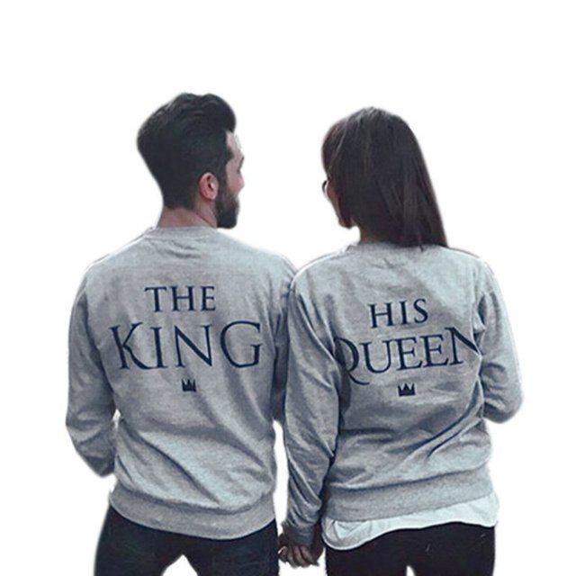 Letters Autumn Winter Couples Match Sweatshirts KING QUEEN Casual Long Sleeve Hoodies Lovers Sweatshirt Pullovers Stylish
