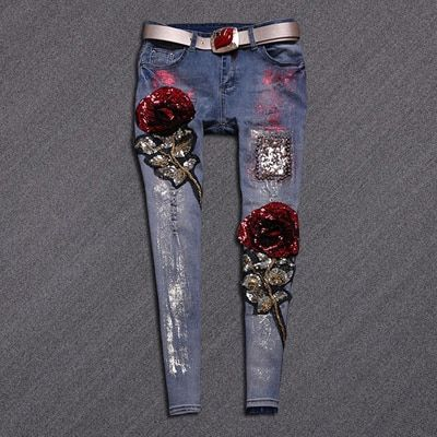 High quality slim jeans lady elastic pencil pants elegant style tight legs jeans ripped vintage rose sequined skinny jeans B117