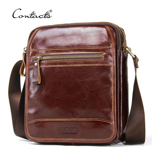 CONTACT'S New Fashion Cowhide Men Messenger Bags Small Genuine Leather Male CrossBody Bag Casual Mens Shoulder Bag Travel Bolsa
