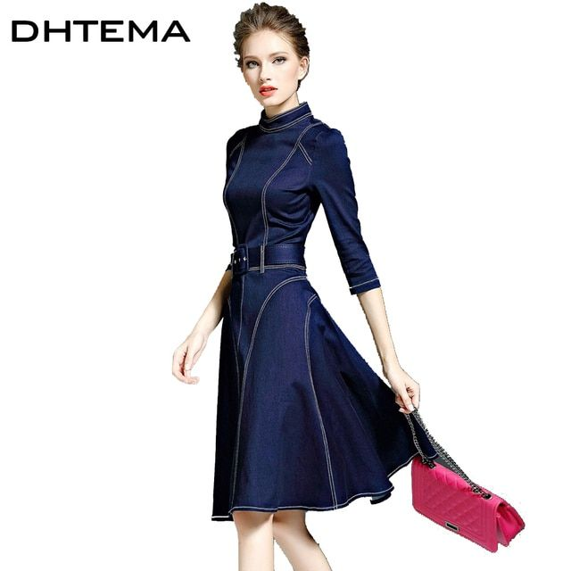 DHTEMA 2016 Denim Dress Autumn And Winter Women's New Arrivals Fashion Sleeve Casual Jeans Blue Dresses