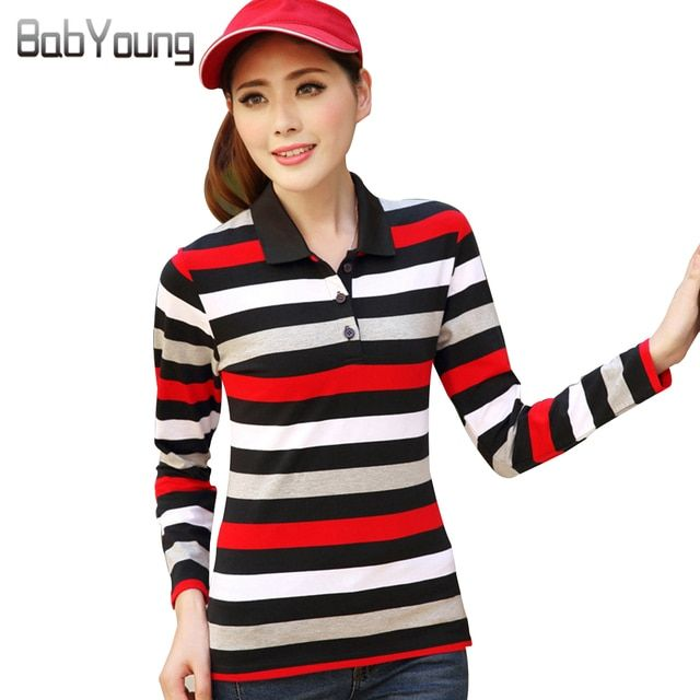 BabYoung 2017 Polo Shirt Poleras De Mujer Long Sleeve Fashion Striped Women Tops Tees Cotton Ladies Polo Shirt Plus Size