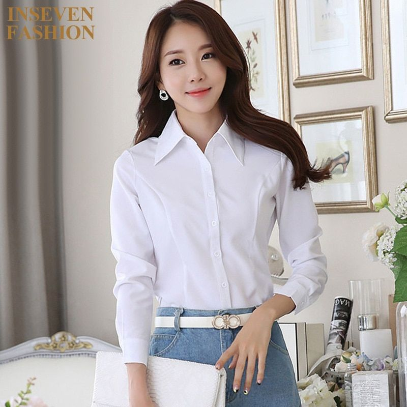 Plus Size Women Blouse Formal Office Fashion Long Sleeve Slim Work Wear Ladies Tops Shirts Color Black White Size XS-5XL DY5