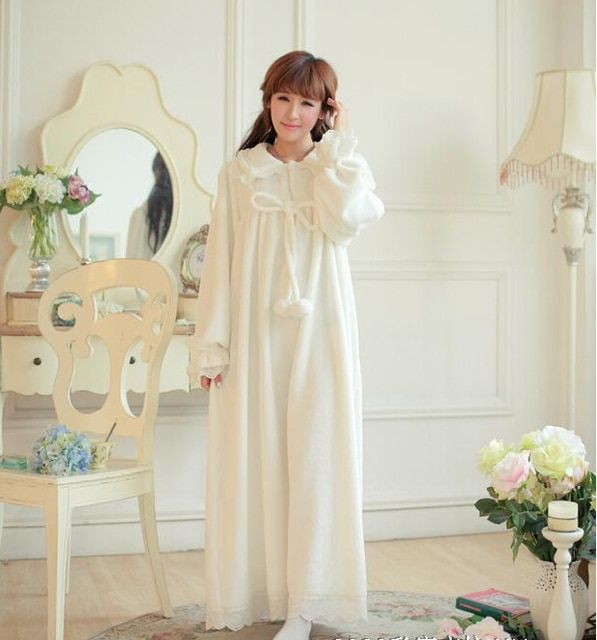 Free Shipping High Quality Flannel Winter Nightgown Women's White Long Pijamas Princess Sleepwear