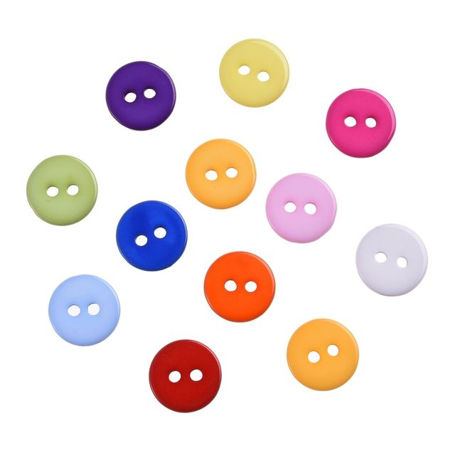 300pcs/lot 2 Holes 11mm Wholesale Mixed Color Round Shape Resin Buttons Fit Sewing Scrapbooking Apparel Home Decoration