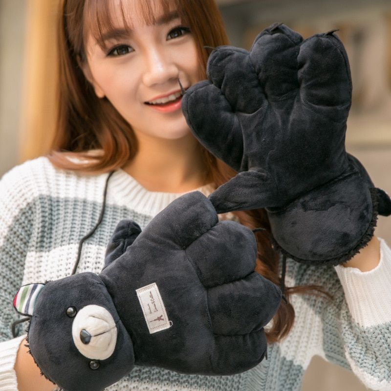 Novetly Lovely Cartoon Big Bear Claw Women Winter Gloves Mittens Autumn Warm Gloves Female Soft Gloves Ladies Gloves