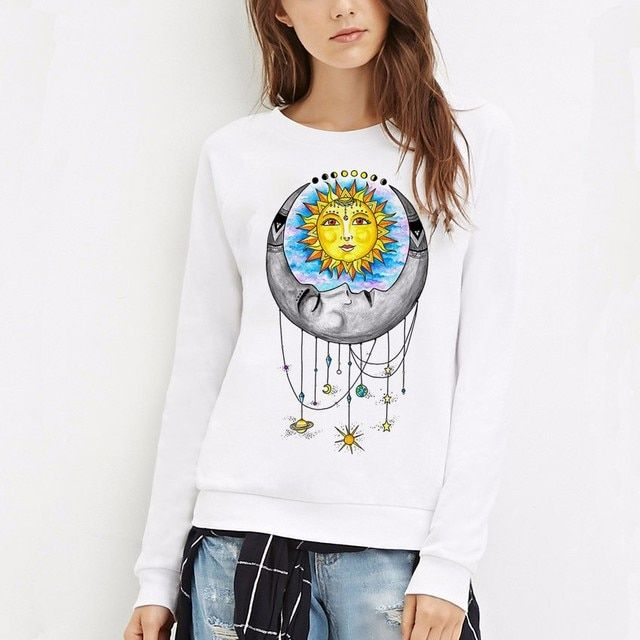 Kiwiqiwei Universal Love Crew Neck Hoodies Harajuku Vintage Long Sleeve Moletom Women Sweatshirts Pullovers Plus Size  #94