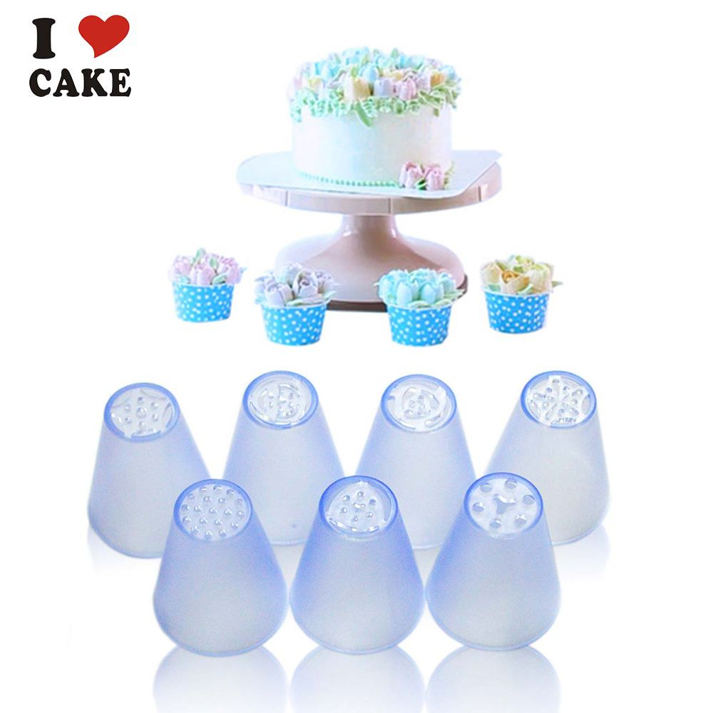 7pcs/lot Russian Tulip plastic Icing Piping Nozzles Making flower mold Pastry Decorating Tips Cake Cupcake Decorator,I CAKE mold