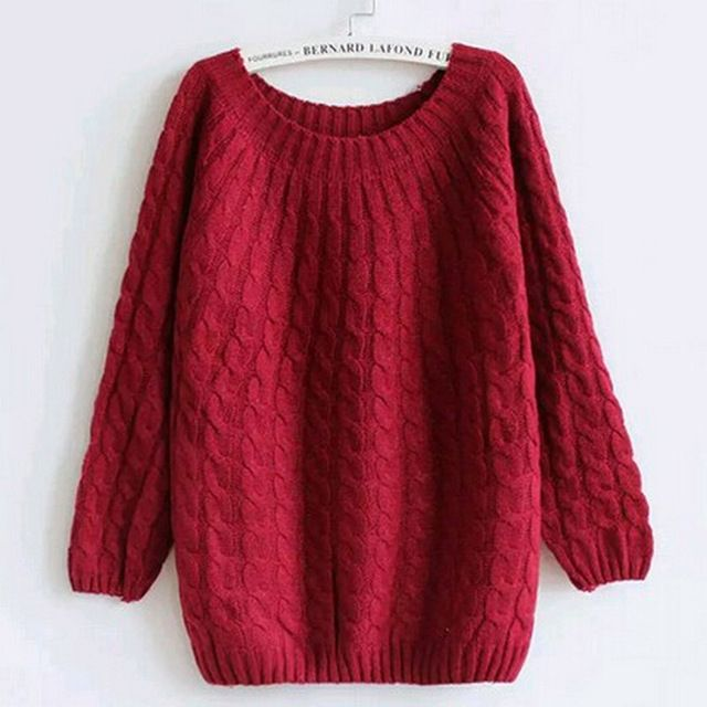 2016 Casual Autumn Winter Knitted Sweater Women Fashion Sexy O-Neck Sweater Long Sleeve Solid Sweater