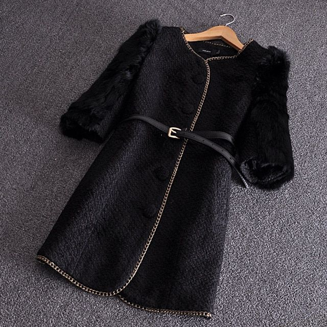 2016 new fashion three quarter rabbit fur sleeve  middle longe o-neck thick autumn and winter coat woman outwear