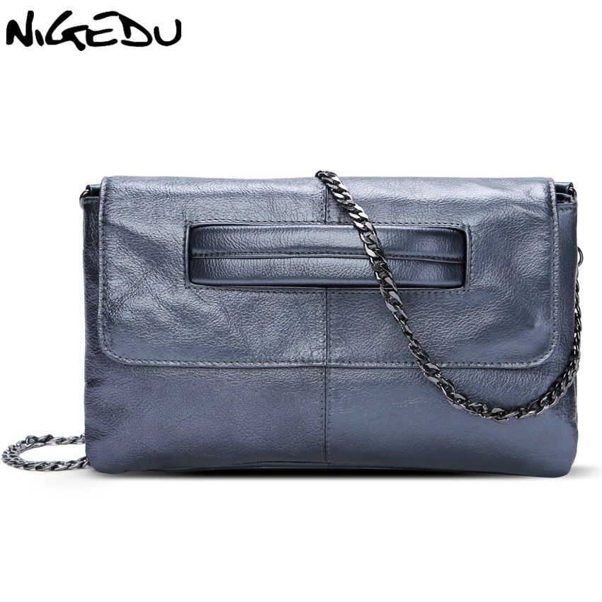 NIGEDU brand Genuine Leather women's envelope clutch bag Chain Crossbody Bags for women handbag messenger bag Ladies Clutches