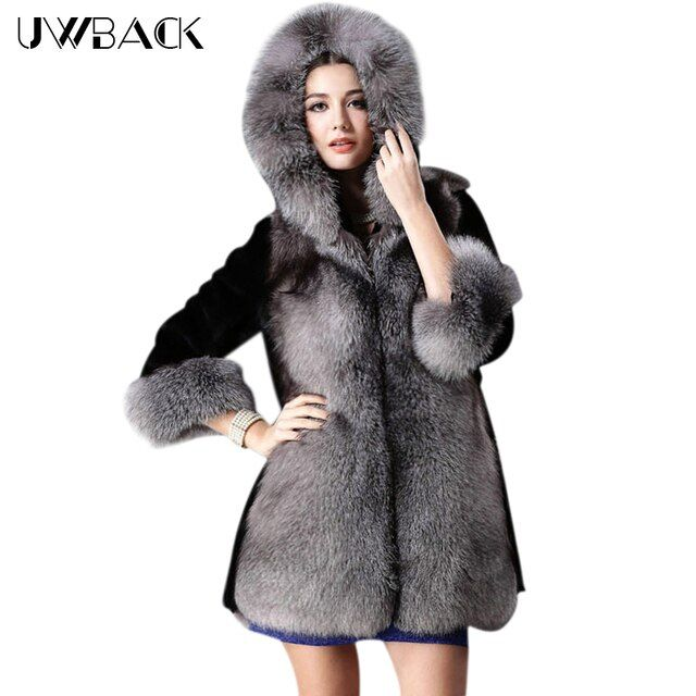 Uwback 2017 New Black Fake Fur Coat Women 3XL Big Size Faux Fox Fur Hooded Long Jackets Mujer Plus Size Women Parkas TB1214